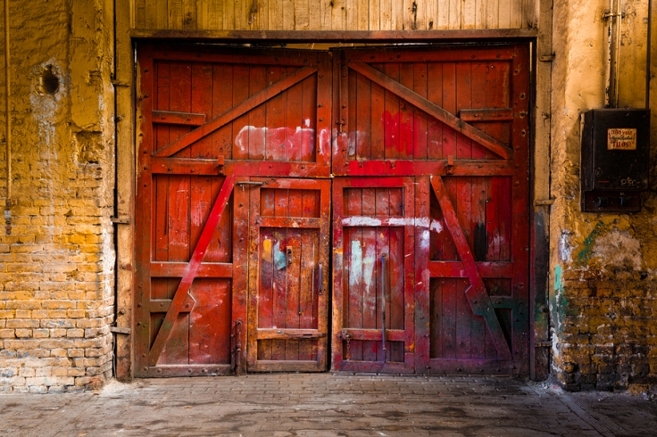 Old Red Wood Gate In Industrial Interior